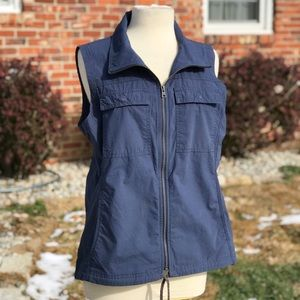 Columbia Blue Cotton Lightweight Zip Up Vest